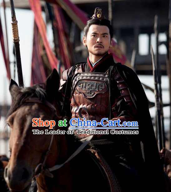 Chinese Qin Dynasty General Bai Qi Armor Costumes Dresses Clothing Clothes Garment Outfits Suits Complete Set for Men