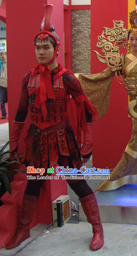 Chinese Qin Dynasty Warrior Opera Dance Costumes Dresses Clothing Clothes Garment Outfits Suits Complete Set for Men