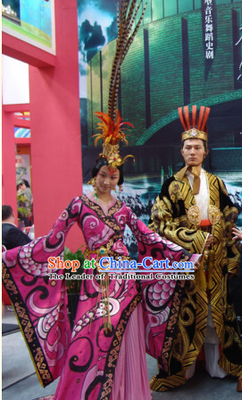 Chinese Qin Dynasty Empress Stage Opera Dance Costumes Dresses Clothing Clothes Garment Outfits Suits Complete Set for Women