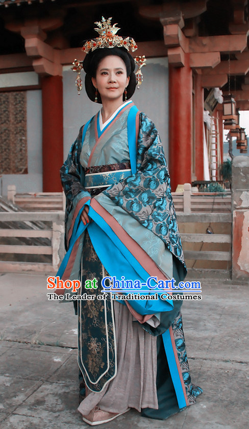 Chinese Han Dynasty Empress Costume Dresses Clothing Clothes Garment Outfits Suits Complete Set for Women