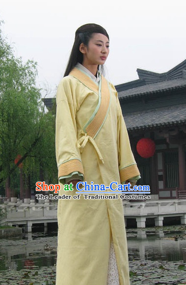 Chinese Qin Dynasty Costume Dresses Clothing Clothes Garment Outfits Suits and Hair Jewelry Complete Set for Women