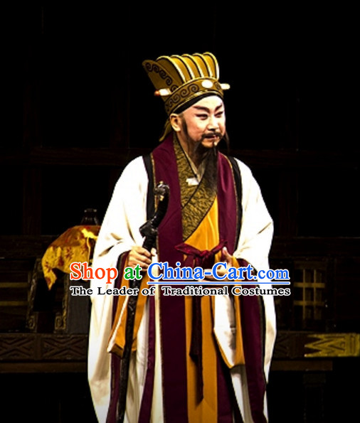 Chinese Opera Prime Minster Costume Dresses Clothing Clothes Garment Outfits Suits Complete Set for Men