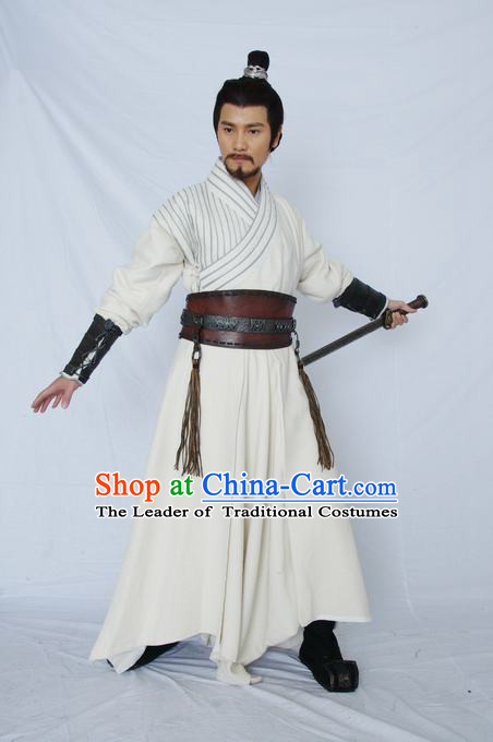 Chinese Qin Dynasty Swordsman Knight Costumes General Costume Dresses Clothing Clothes Garment Outfits Suits Complete Set for Men