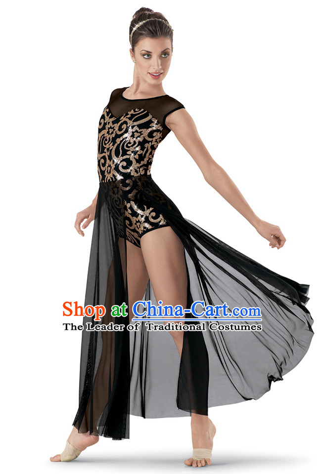 Black Modern Dance Women Ballet Costumes Dancing Costumes Dancewear Dance Supply Free Custom Tailored Service for Women