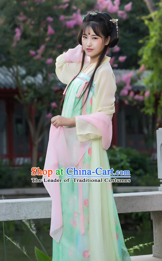 Tang Dynasty Ancient Chinese People Dress and Headpieces Complete Set for Women