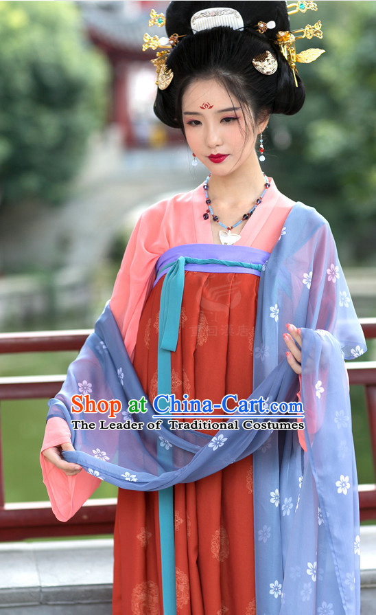 Tang Dynasty Ancient Chinese Women Clothing and Head Accessories Complete Set