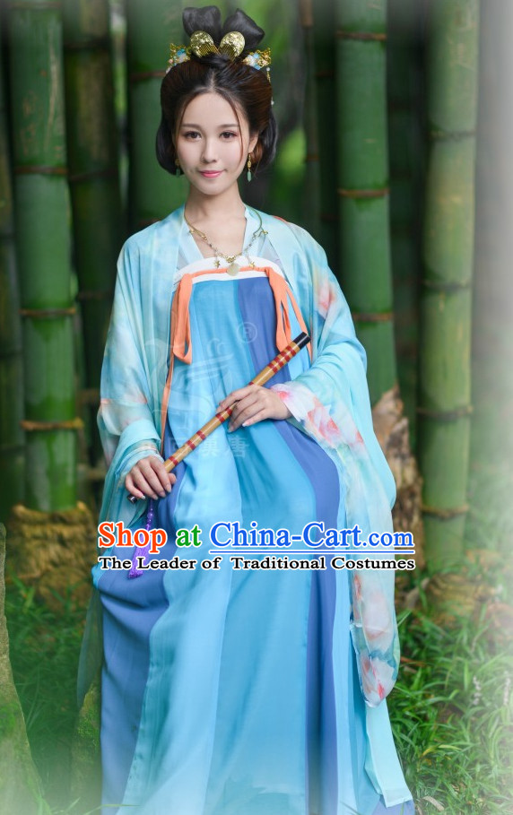 Tang Dynasty Ancient Chinese Women Clothing and Accessories Complete Set