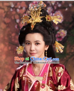 Chinese Ancient Style Imperial Tang Dynasty Princess Wigs and Hair Jewelry Accessories Hairpins Headwear Headdress Hair Fascinators for Women