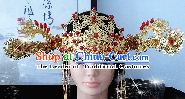 Chinese Ancient Style Imperial Princess Wigs and Hair Jewelry Accessories Hairpins Headwear Headdress Hair Fascinators for Women