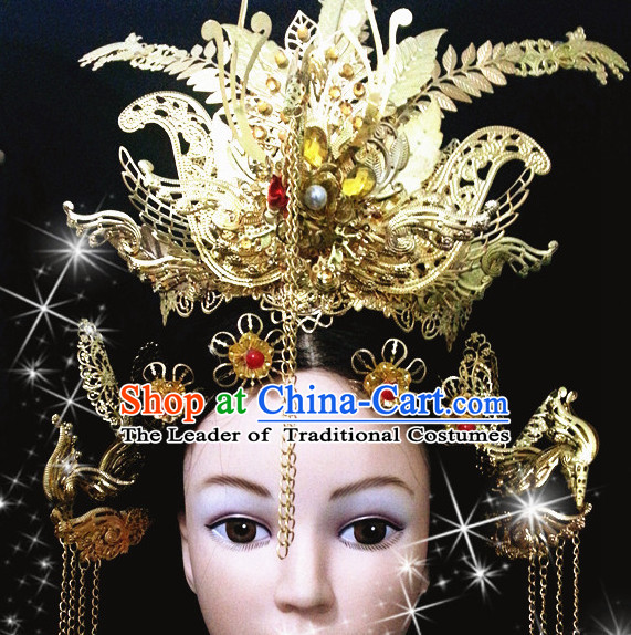 Chinese Ancient Style Imperial Queen Empress Phoenix Hair Jewelry Accessories Hairpins Headwear Headdress Hair Fascinators for Women
