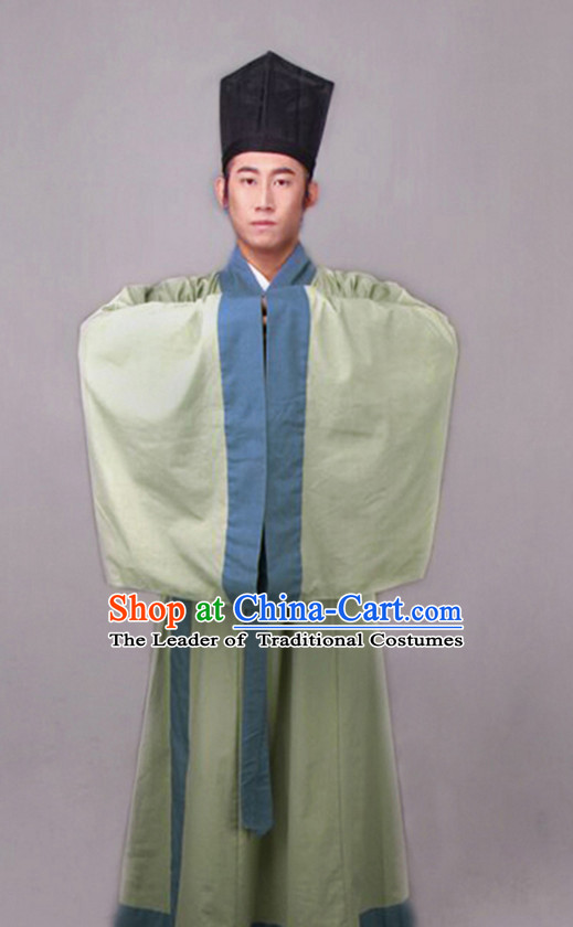 Chinese Costume Chinese Costumes Hanfu Han Fu Ancient China Clothing Dress Garment Suit and Hat Complete Set for Men