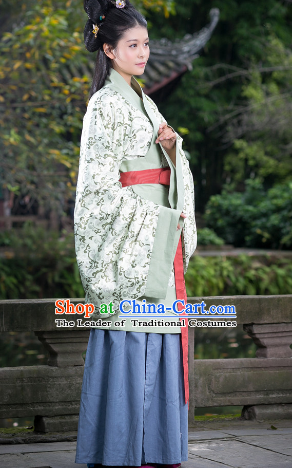 Chinese Costume Chinese Costumes Hanfu Han Fu Ancient China Clothing Dress Garment Suit and Headpieces Complete Set for Women