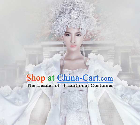Ancient Chinese Accessories White Phoenix Coronet for Women