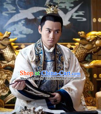 Chinese Imperial Prince Black Long Wigs and Headwear Headpieces Hair Jewelry Headdress for Men