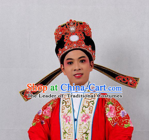 Chinese Opera Scholar Headwear Headdress Hat Crown Headpieces