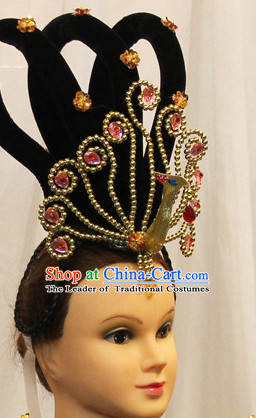 Chinese Classical Dance Apparel Wigs Hair Jewelry Ethnic Classic Dancing Asian Fashion Wholesale Stage Performance Headdress Folk Decorations