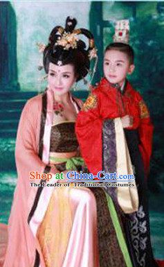 Chinese Classic Costume Ancient China Tang Dynasty Costumes Han Fu Dress Wear Outfits Suits Clothing for Women and Kids