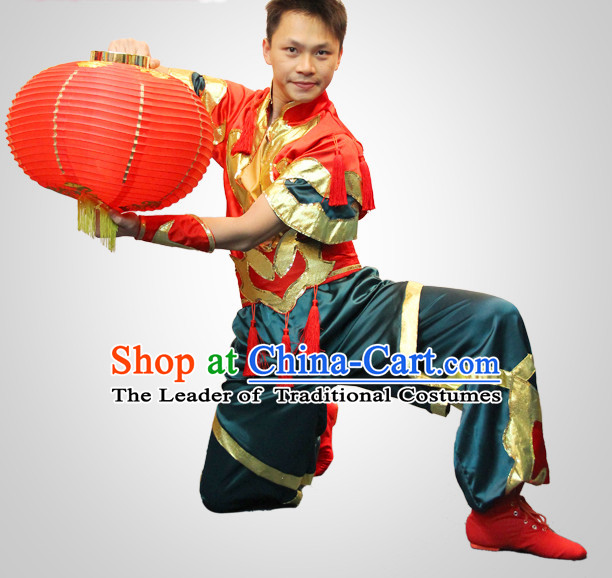 Chinese Folk Red Lantern Dance Costumes and Lantern Props for Men