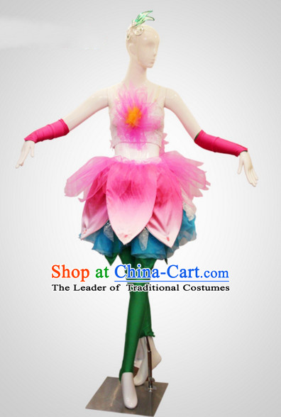 Chinese Folk Flower Dance Costumes and Flower Headdress Props for Women