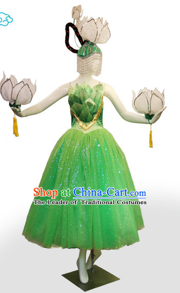 Chinese Classic Folk Lotus Dance Costumes and Headwear Complete Set for Women