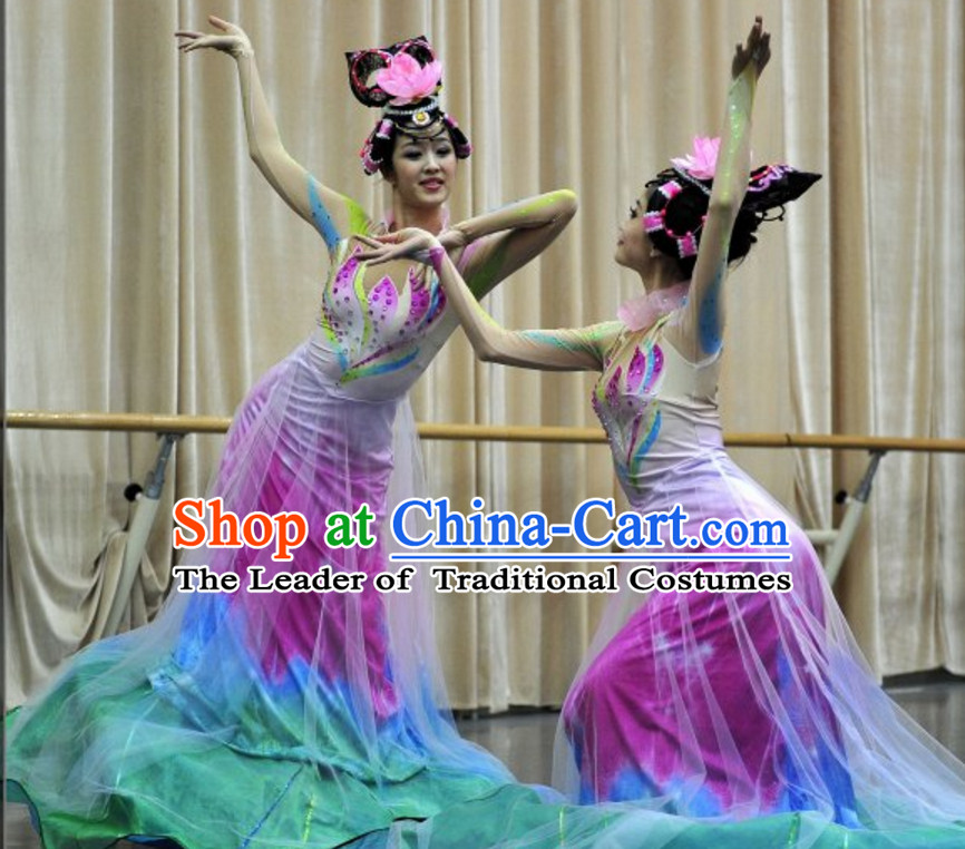 Chinese Classic Folk Flower Dance Costumes and Headwear Complete Set for Women