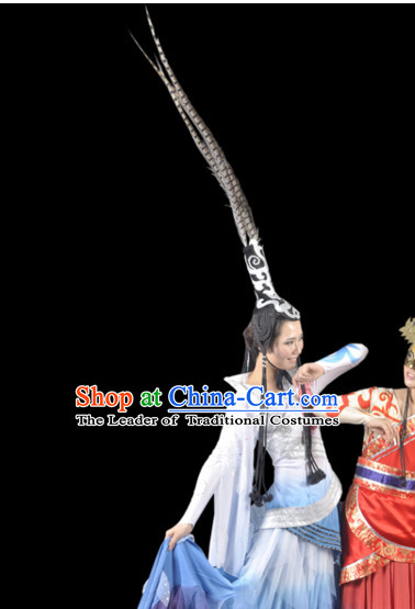 Chinese Folk Classic Dance Costumes and Long Feathers Headwear Complete Set for Women