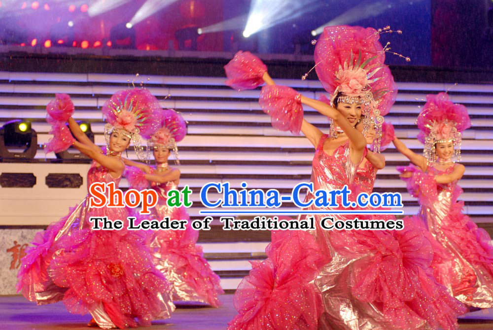 Chinese Folk Opening Dance Costumes and Headwear Complete Set for Women