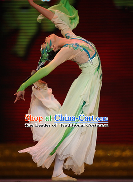 Chinese Folk Classical Dance Costumes and Headwear Complete Set for Women