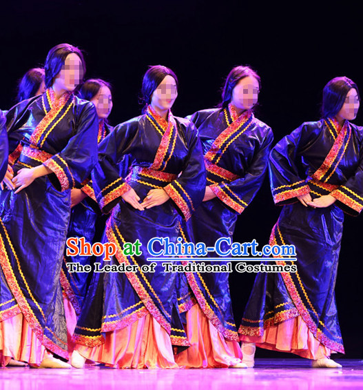 Chinese Folk Han Dynasty Classic Dance Costumes Complete Set for Women