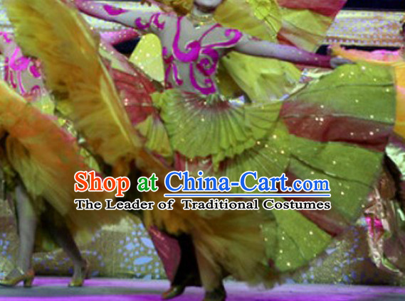 Chinese Folk Flower Dance Costumes and Headwear Complete Set for Women