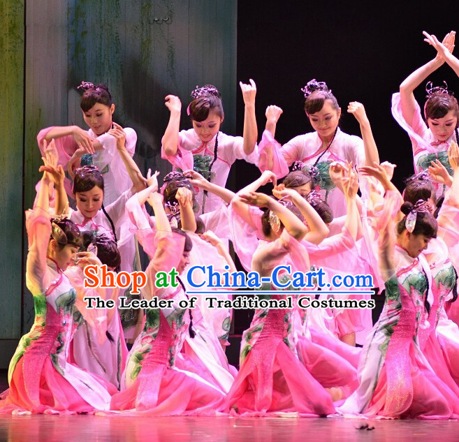 Chinese Classic Folk Dance Costumes and Headwear Complete Set for Women