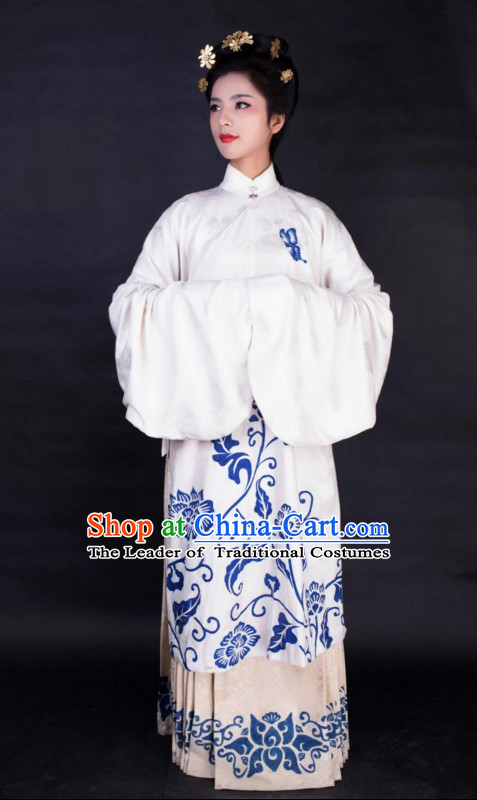 Chinese Ming Dynasty Clothes Clothing Costumes and Hair Accessories Complete Set for Women