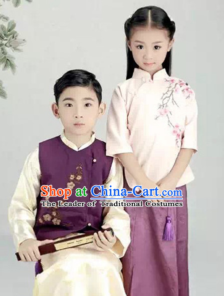 Minguo Period Chinese Costume Ancient China Ethnic Costumes Han Fu Dress Wear Outfits Suits Clothing for Kids