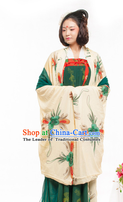Chinese Ancient Tang Dynasty Princess Spring Summer Costume China online Shopping Traditional Costumes Dress Wholesale Asian Culture Fashion Clothing and Hair Accessories for Women