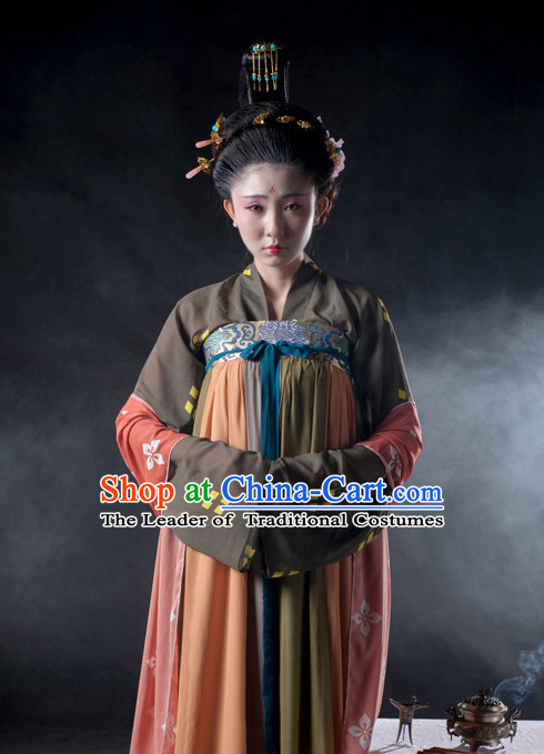 Chinese Ancient Tang Dynasty Lady Clothes Costume China online Shopping Traditional Costumes Dress Wholesale Asian Culture Fashion Clothing and Hair Accessories for Women