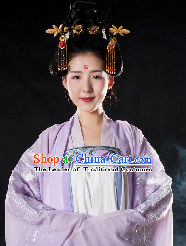 Ancient Chinese Tang Dynasty Long Black Wigs and Hair Jewelry for Women