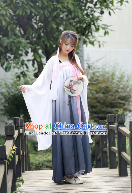 Tang Dynasty White Grey Dance Costumes for Girls