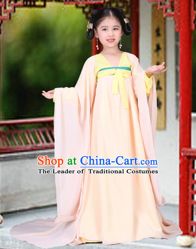 China Tang Dynasty Group Dance Costumes and Buns Wigs for Children Girls