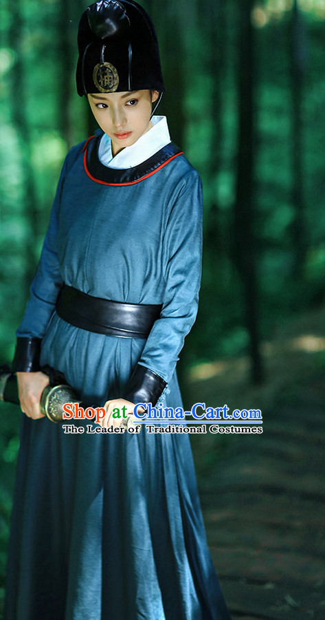 Chinese Ancient Bodyguard Costumes and Hat Complete Set