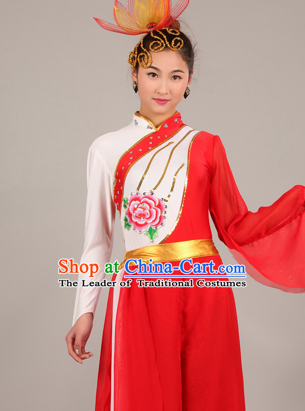 Chinese Costume Folk Chinese Dance Costumes Carnival Costumes Fancy Dress National Garment and Hair Accessories