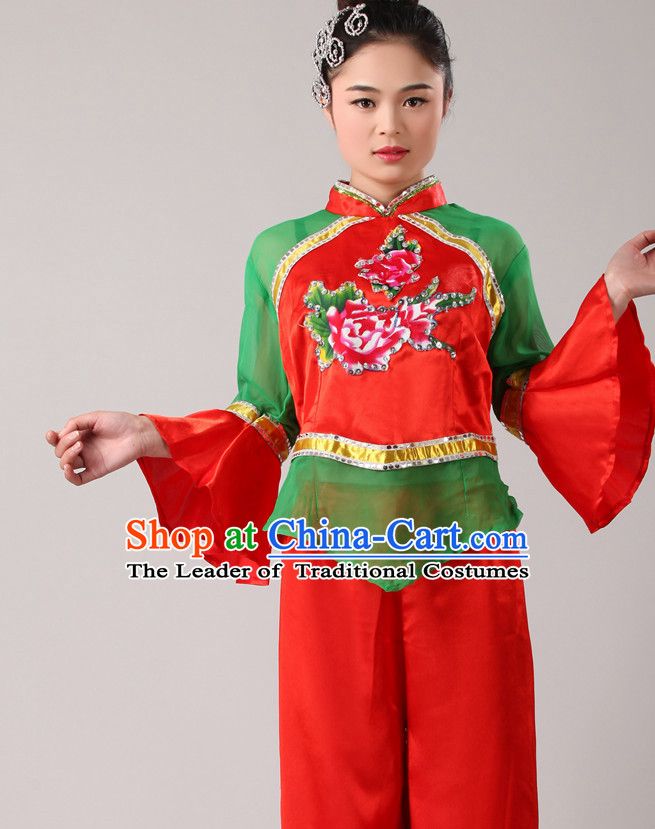 Chinese Costume Folk Chinese Group Dance Costumes Carnival Costumes Fancy Dress National Dress and Hair Accessories