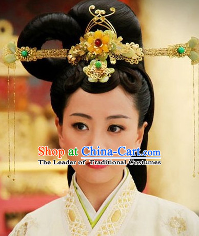 Ancient Chinese Style Black Long Wigs and Hair Accessories Set