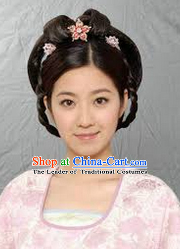 Ancient Chinese Hong Kong TVB Drama Black Wig and Hair Accessories for Women