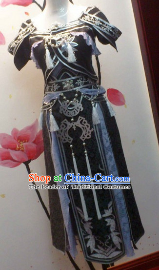 Ancient Asian Chinese Japenese Korean Princess Cosplay Knight Costumes and Hair Jewelry Complete Set
