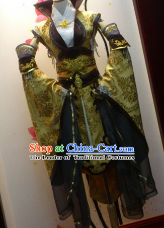 Ancient Asian Chinese Japenese Korean Empress Cosplay Knight Costumes and Hair Jewelry Complete Set