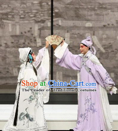 Blue Ancient Chinese Asian Peking Opera Costumes The Peach Blossom Fan Costume and Hat Complete Set for Men