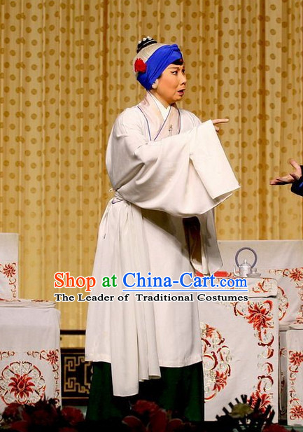 White Ancient Chinese Asian Peking Opera Costumes Old Woman Costume and Headwear Complete Set