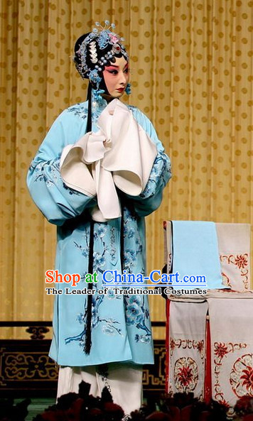 Sky Blue Ancient Chinese Asian Peking Opera Costumes Qing Yi Costume and Hair Jewelry Complete Set