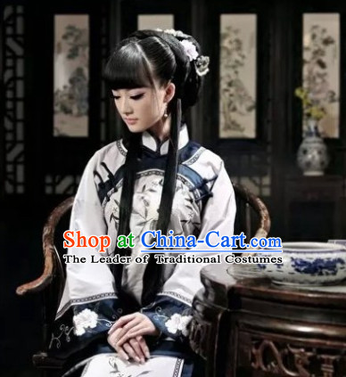 Traditional Minguo Time Noblewoman Costumes and Hair Jewelry Complete Set