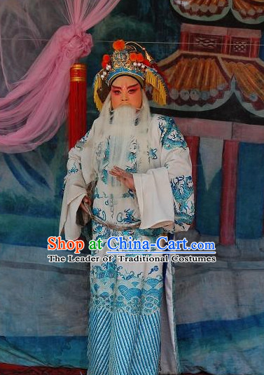 Chinese Opera Costumes Beijing Opera Costume Peking Stage Prime Minster Dress Dragon Robe Complete Set for Men